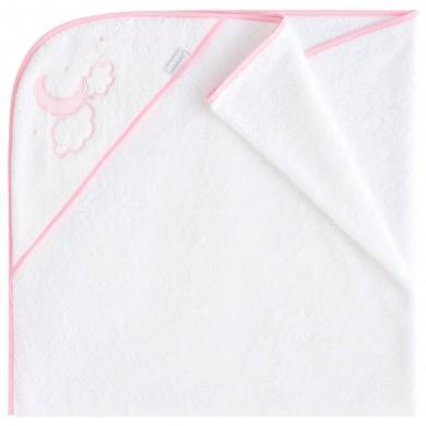 capa de baño bebe, algodon, rosa