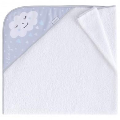 Capa de baño Nuvola azul algodon, rizo