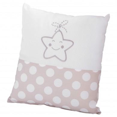 Cojín de bebe cuadrado, bordado estrella.