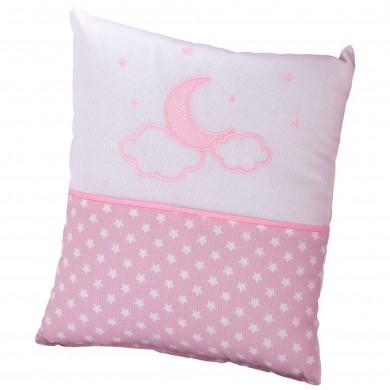 Cojín de bebe cuadrado, bordado, color rosa