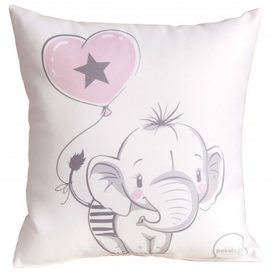 Cojín de bebe cuadrado, bordado elefante rosa