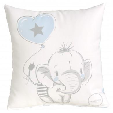 Cojín de bebe cuadrado, bordado elefante azul