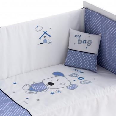 juego-sabanas-cuna-bordado-perro-azul-estampado-lunares-blanco