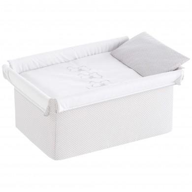 Vestidura minicuna, colcha de cuna, funda almohada cuna.