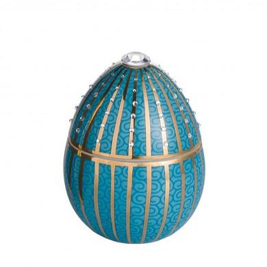 Vela-huevo-raya oro-azul-vela-lujo-ambientador-oro