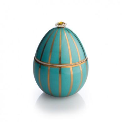 Vela-huevo-raya oro-turquesa-vela-lujo-ambientador-oro