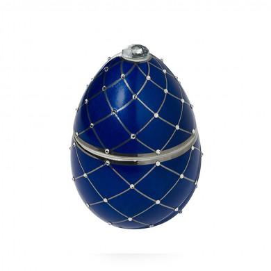 Vela-huevo-raya-plata-azul-vela-lujo-ambientador-cristales