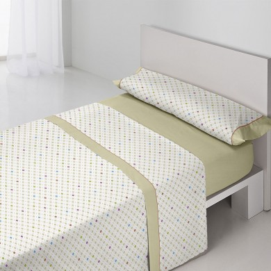Juego-de-sábanas-Lyon-Beige-estampado-geometrico-cama-individual-cama-matrimonio